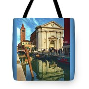 In The Waters Of The Many Venetian Canals Reflected The Majestic Cathedrals, Towers And Bridges Tote Bag