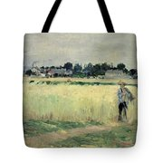 In The Wheatfield At Gennevilliers Tote Bag by Berthe Morisot