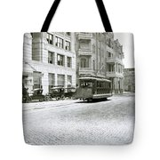 In This 1913 Photo, A Cable Car Drives Past The Littlefield Building And Dristill Hotel On Sixth Str Tote Bag