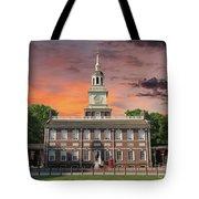 Independence Hall Philadelphia Sunset Tote Bag