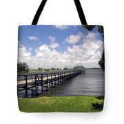 Indialantic Pier On The Indian River Lagoon In Central Florida Tote Bag