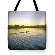 Indian In Dugout Canoe Tote Bag