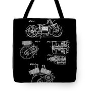 Indian Motorcycle Patent 1943 Black Tote Bag