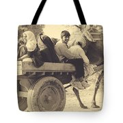 Indian People In Camel Cart- Sepia Tote Bag