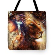 Indian Woman Wearing  Feather Headdress With Lion And Abstract Color Collage Tote Bag