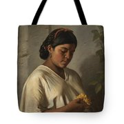 Indian Woman With Marigold Tote Bag