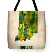 Indiana Watercolor Map Tote Bag by Naxart Studio