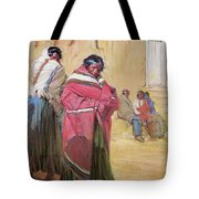 Indians Outside Taos Pueble Tote Bag