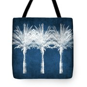 Indigo And White Palm Trees- Art By Linda Woods Tote Bag