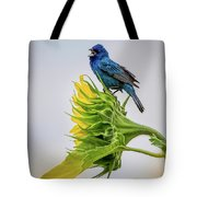 Indigo Bunting Sunflower Tote Bag