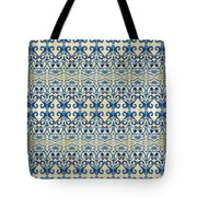 Indigo Ocean - Caribbean Tile Inspired Watercolor Swirl Pattern Tote Bag