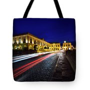 Indigo Sky And Car Lights Over Plaza Espana And Puente Nuevo Bri Tote Bag