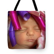 Infant With Ribbon Curls Tote Bag