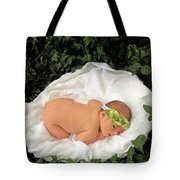 Newborn Infant Lying In Ivy Tote Bag