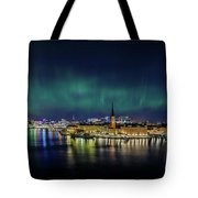 Infinite Aurora Over Stockholm Tote Bag