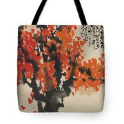 Ink Painting A Tree Gules Persimmon Girl Tote Bag