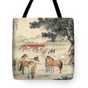 Ink Painting Horse Tote Bag