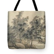 Ink Painting Landscape Bamboo Forest Rivers Tote Bag