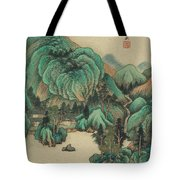 Ink Painting Mountain Thatched Cottage Tote Bag