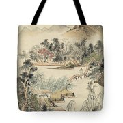 Ink Painting Mountain Wooden Bridge Tote Bag