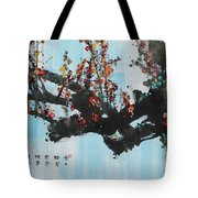 Ink Painting Plum Blossom Blue Tote Bag