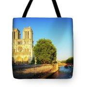 Notre Dame In Sunset Light Tote Bag