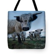 Inquisitive White High Park Cow Tote Bag