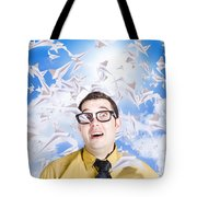 Insane Business Man With Busy Travel Schedule Tote Bag