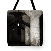 Inside Empty Dark Building With Light Bulbs Lit Tote Bag
