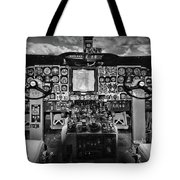 Inside The Cockpit Black And White Tote Bag