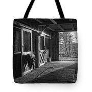 Inside The Horse Barn Black And White Tote Bag