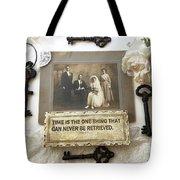 Inspirational Art - Vintage Wedding Photo With Antique Keys - Inspirational Vintage Black Keys Art  Tote Bag