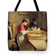 Interior Of A Frame Gilding Workshop Tote Bag by Louis Emile Adan