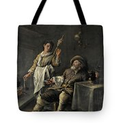 Interior Scene In Front Of A Fireplace Tote Bag