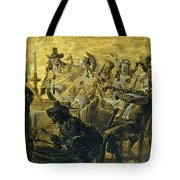 Interior With Elegant Figures Singing And Making Music By Candle Light Tote Bag