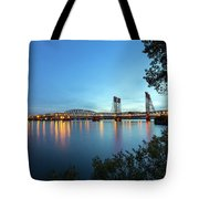 Interstate Bridge Over Columbia River At Dusk Tote Bag