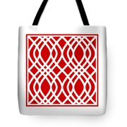 Intertwine Latticework With Border In Red Tote Bag