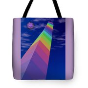 Into The Future - Rainbow Monolith And Planet Tote Bag