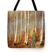 Into The Misty Autmun Woods Tote Bag