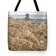 Inukshuk At Lawrencetown Beach, Nova Scotia Tote Bag