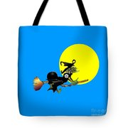 Inverted Pentacle Flying Witch Tote Bag