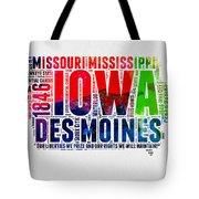 Iowa Watercolor Word Cloud  Tote Bag