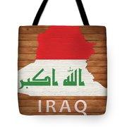 Iraq Rustic Map On Wood Tote Bag