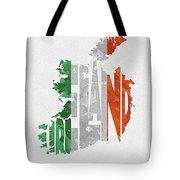 Ireland Typographic Map Flag Tote Bag