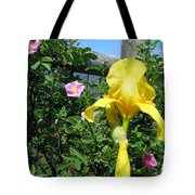 Iris And Wild Roses Tote Bag