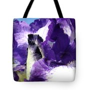 Iris Flower Art Print Purple Irises Botanical Floral Artwork Tote Bag