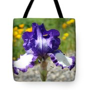 Iris Flower Purple White Irises Nature Landscape Giclee Art Prints Baslee Troutman Tote Bag