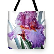 Watercolor Of A Tall Bearded Iris In Pink, Lilac And Red I Call Iris Pavarotti Tote Bag