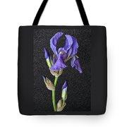 Iris On Black Leather Tote Bag