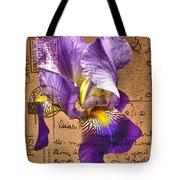 Iris On Vintage 1912 Postcard Tote Bag